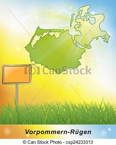 Clipart von Landkarte, vorpommern.