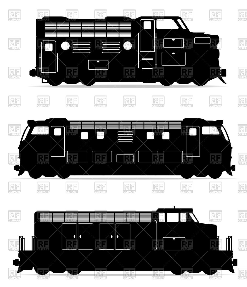 Silhouettes of diesel and electric locomotives.