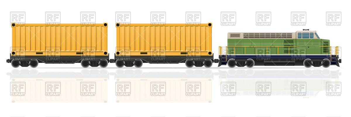 Cargo container train with diesel locomotive Vector Image #104599.
