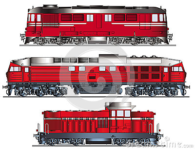 Diesel Locomotives Vector Royalty Free Stock Photography.