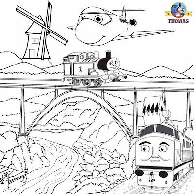 Summer Kids activities Thomas train picture sheets magic railroad.