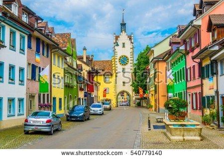 Old Street Switzerland Village Stock.