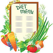 Clipart of Diet menu with a group of vegetables k11556742.