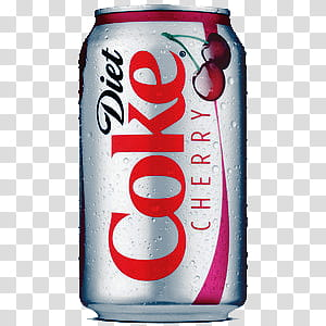 Diet Coke Cherry can transparent background PNG clipart.