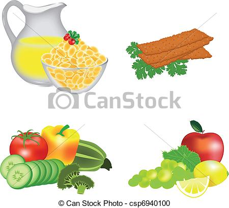 Vector Clipart of Dietary food: cereals, breads, fruits.