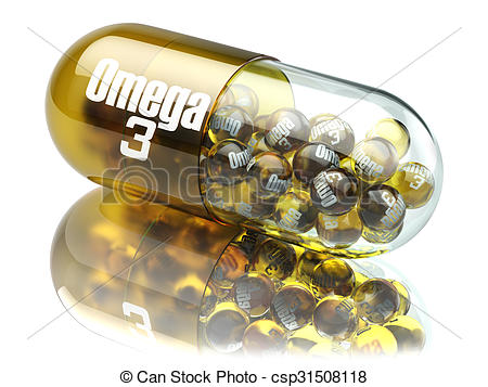 Clipart of Pill with Omega 3 element. Dietary supplements. Vitamin.