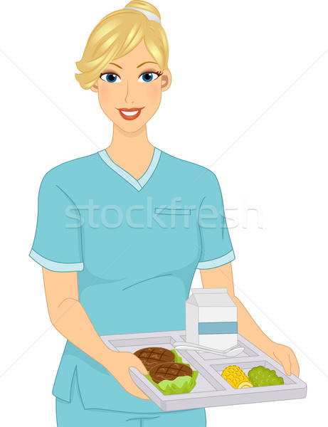 Girl Dietician Food Tray vector illustration © lenm.