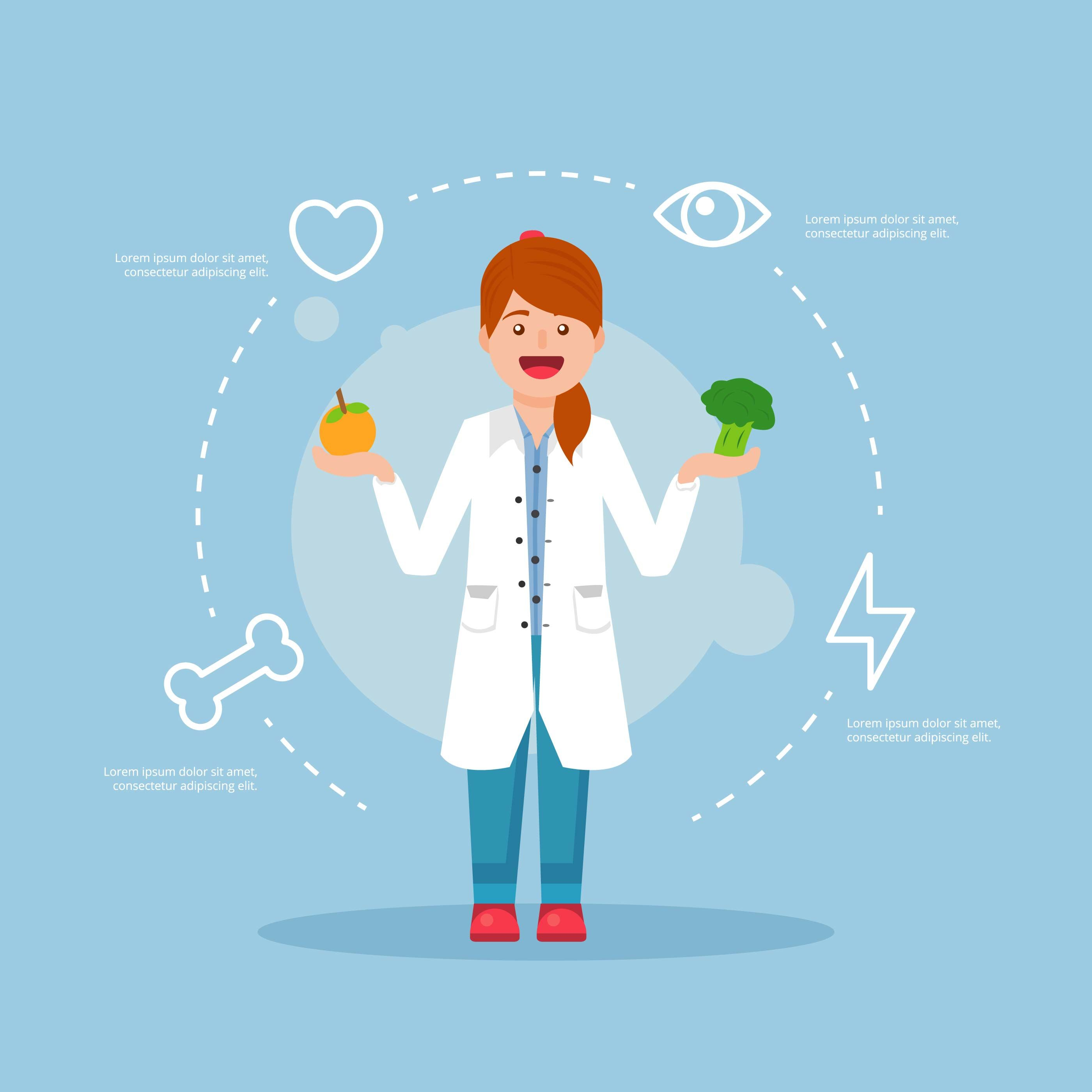 Glad, smiling female nutritionist vector illustration in.