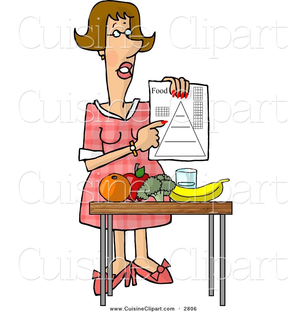 Cuisine Clipart of a Smart Female Dietitian Teaching the Public.