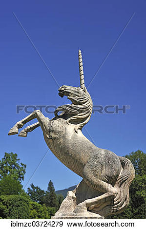 """Stock Photograph of """"Unicorn, sculpture in the castle grounds of."""