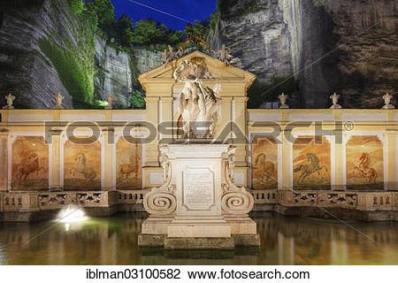 """Stock Photo of """"Pferdeschwemme, horse pond at night, Herbert."""