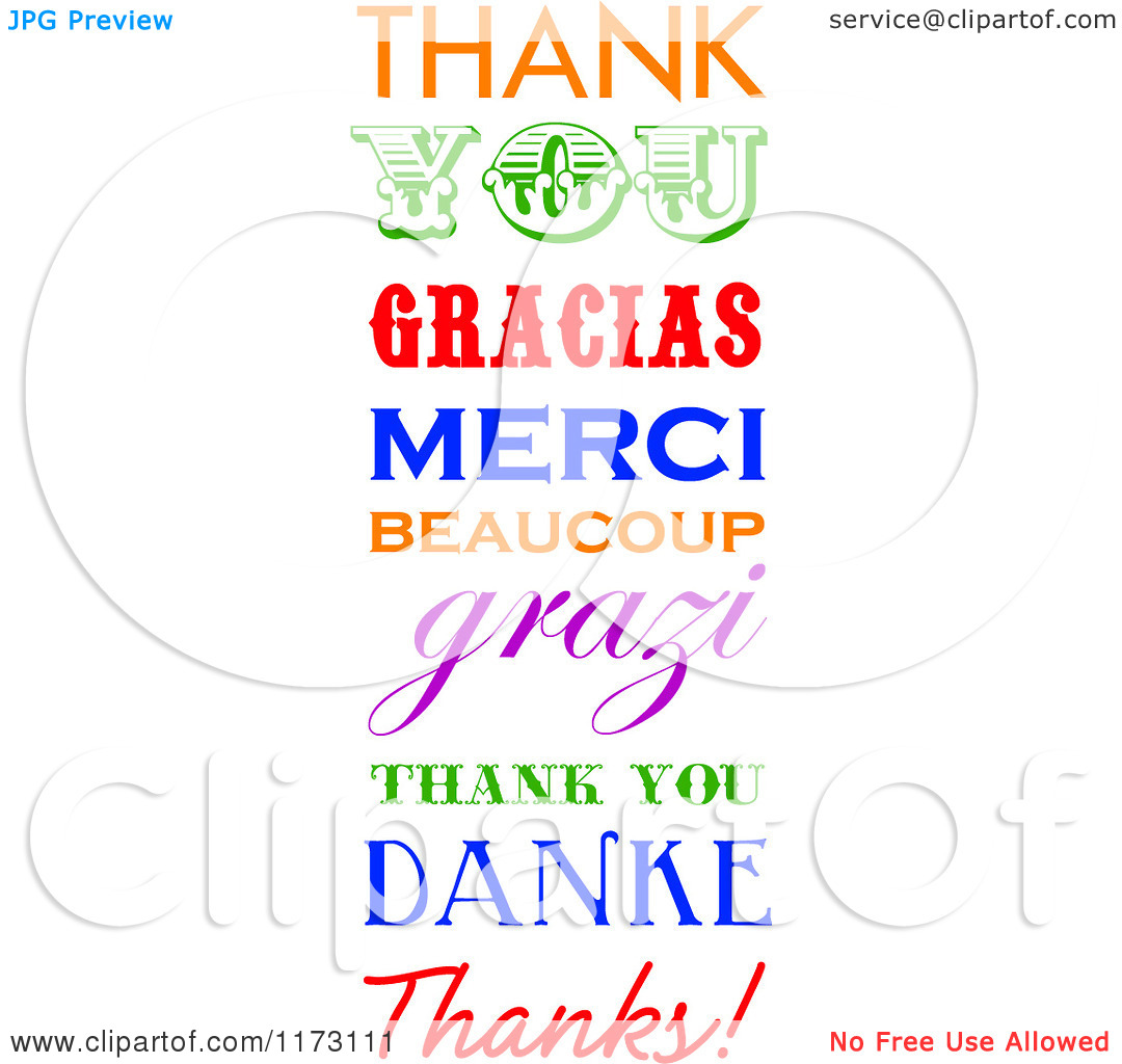 Free clip art thank you in different languages.