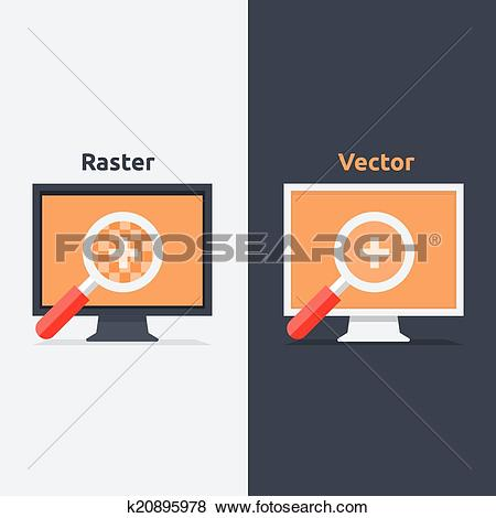 Clip Art of Difference between vector and raster format k20895978.