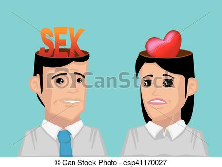 Vector Illustration of Difference between Man's and Woman's Wants.