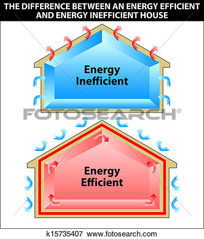 Clip Art of The difference between an energy efficient and energy.