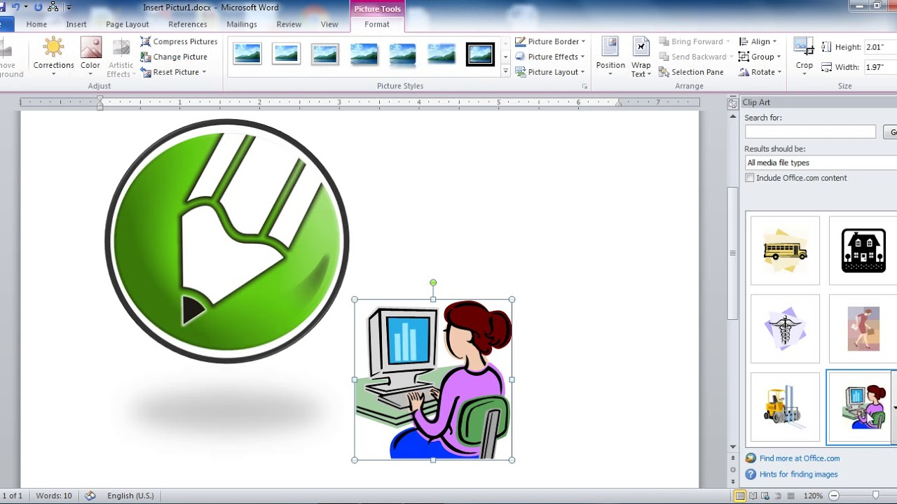 Insert Picture Clip art and Smart Art in Ms Word in Hindi.