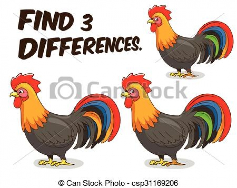 vector clipart of find differences game rooster vector game.