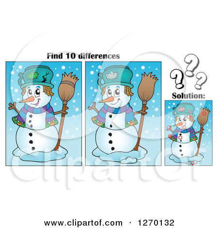 Clipart of a Snowman Find 10 Differences Game and Solution.