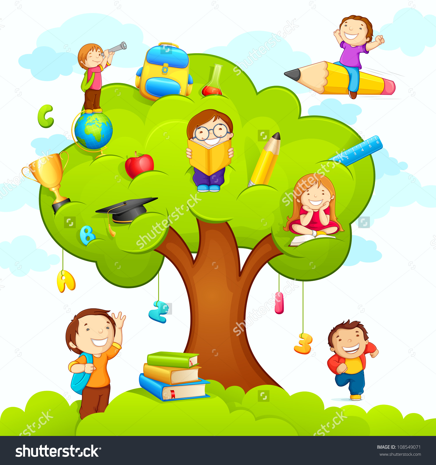 Vector Illustration Kids Studying On Tree Stock Vector 108549071.