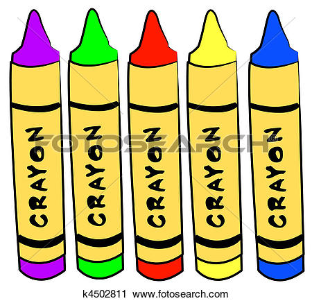 Clipart of five different color crayons standing k4502811.