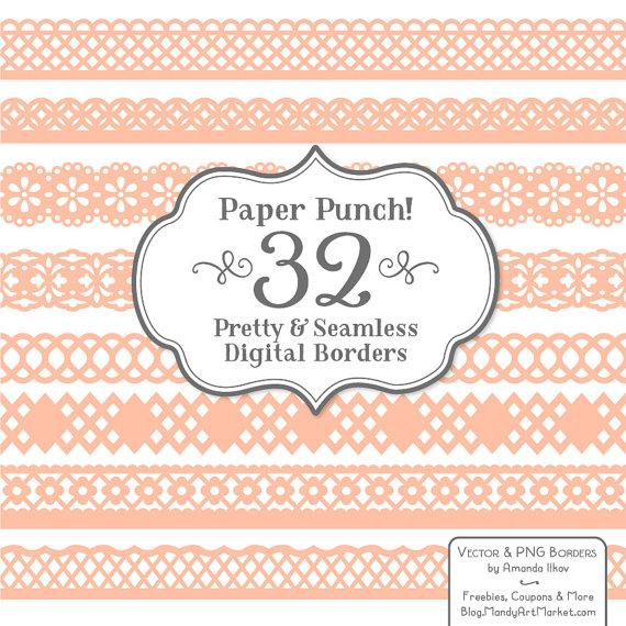 32 Premium Peach Paper Punch Lace Borders Clipart & Vectors.