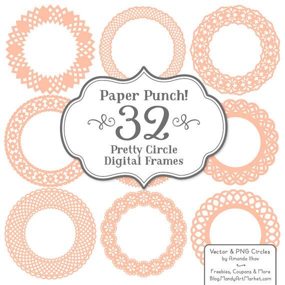 32 Premium Paper Punch Peach Lace Frames Clipart & Vectors.