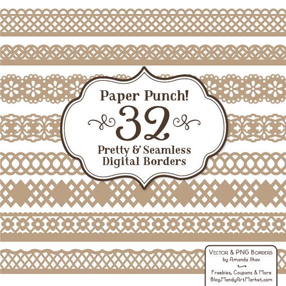32 Premium Champagne Paper Punch Lace Borders Clipart &.