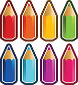 Colored Crayons Clip Art.
