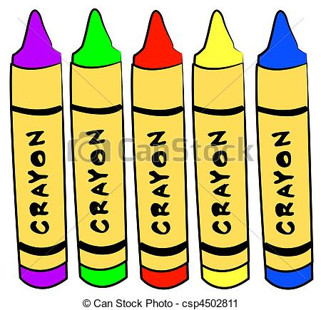 Clipart of five different color crayons standing.