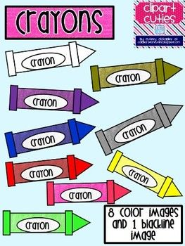 This cute crayons clip art set includes 8 colored crayons and 1.