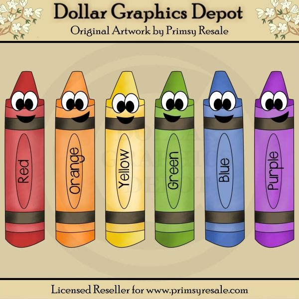 Happy Crayons Clip Art Set, by Primsy Resale.