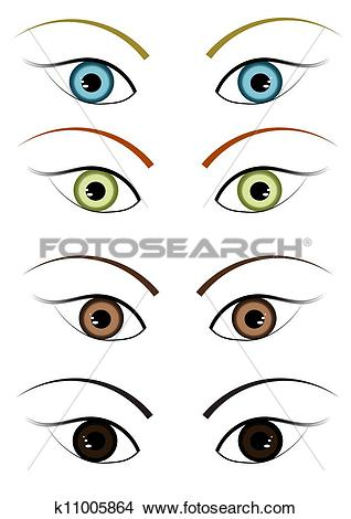 Drawings of Four different color eyes k11005864.