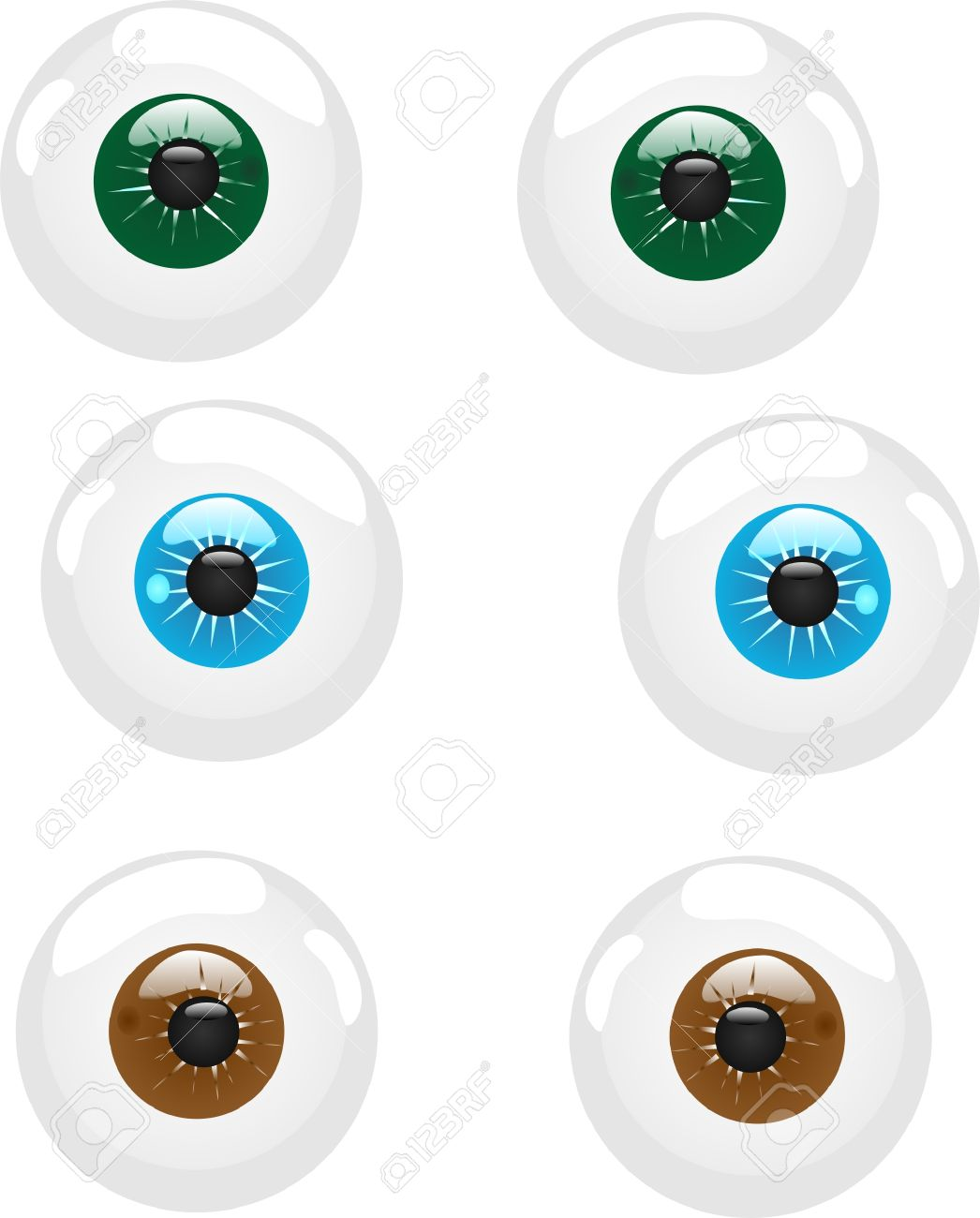 3 Sets Of Eyeballs With Different Colored Iris, Can Be For Icons.