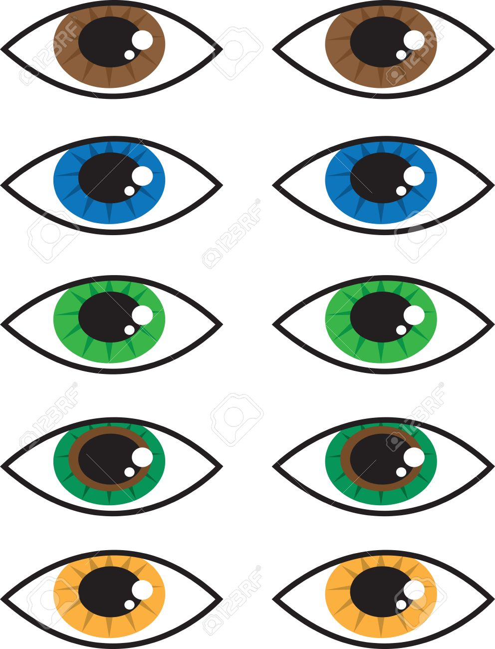 Various Isolated Cartoon Eye Colors Royalty Free Cliparts, Vectors.