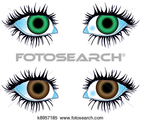 Clipart of Eyes Colored Green Brown k8957185.