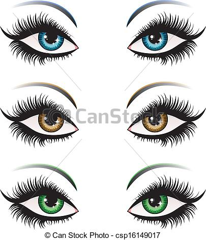 Vector Clip Art of Woman eyes in different color.
