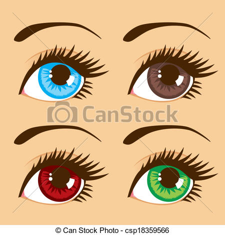 Clip Art Vector of Different Eye Colors.