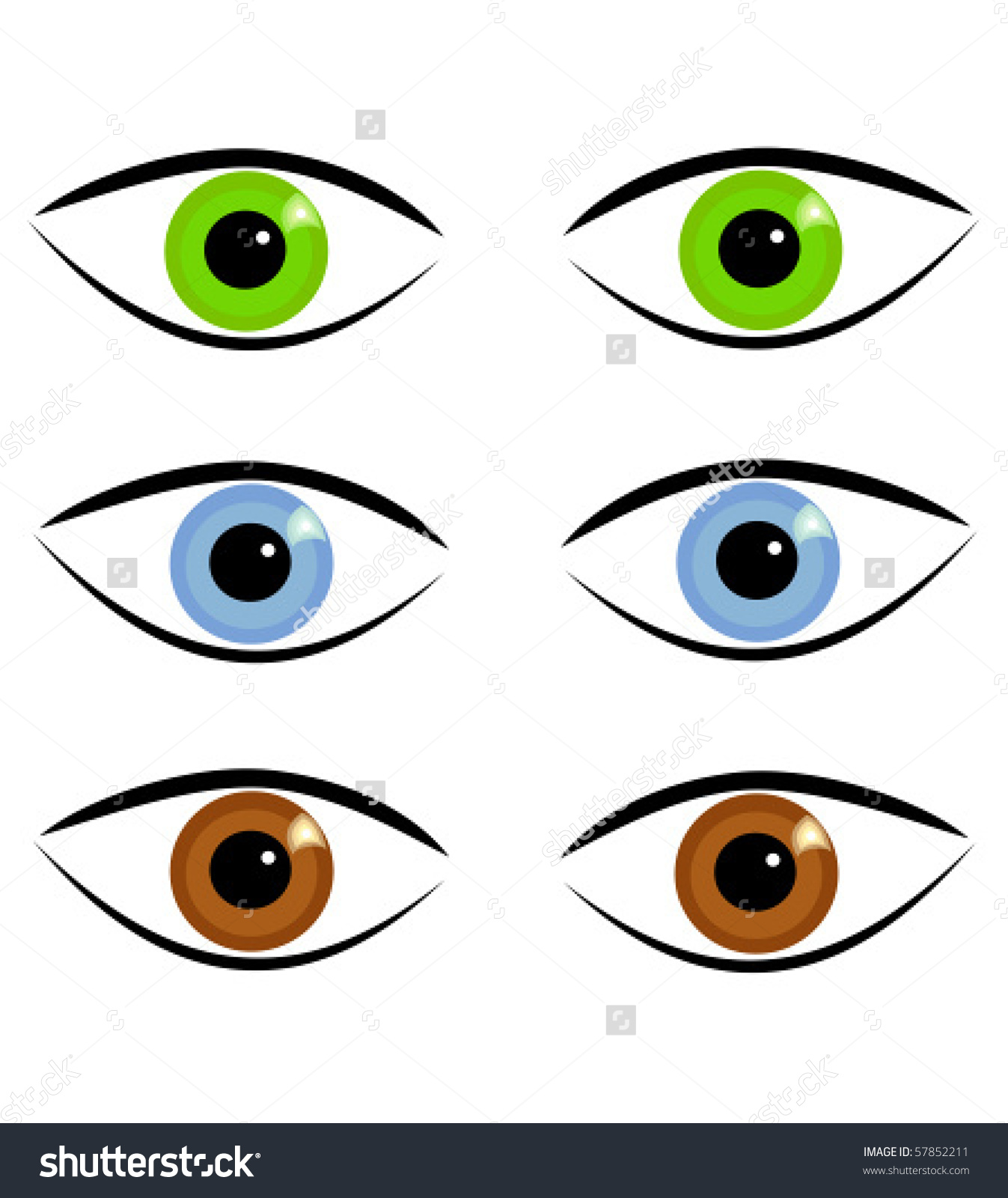 Pairs Eyes Three Different Colors Stock Vector 57852211.