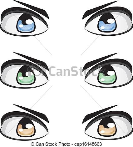 Clip Art Vector of Male eyes of different colors.