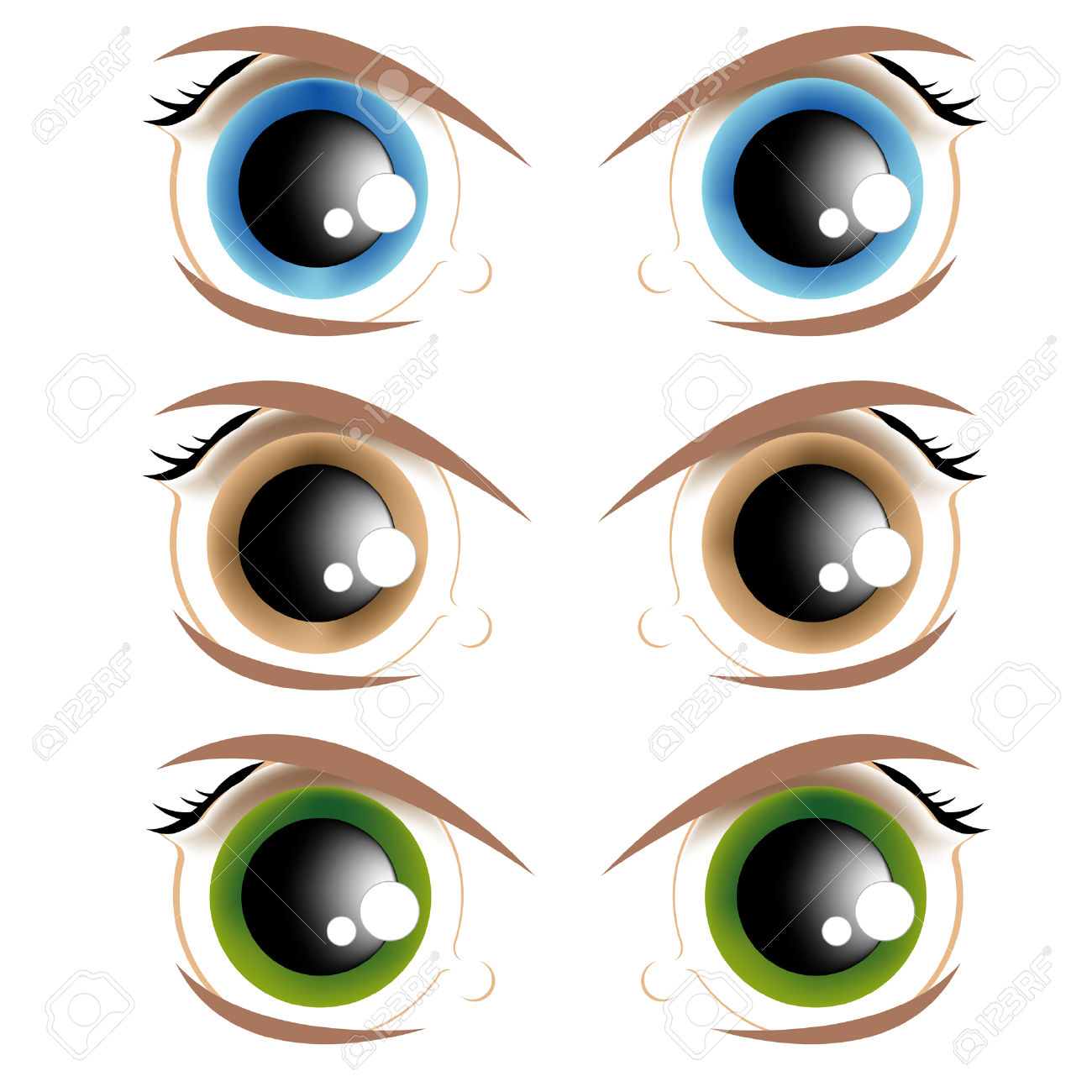 The Vector Image Of Animated Eyes Of Different Colour Royalty Free.