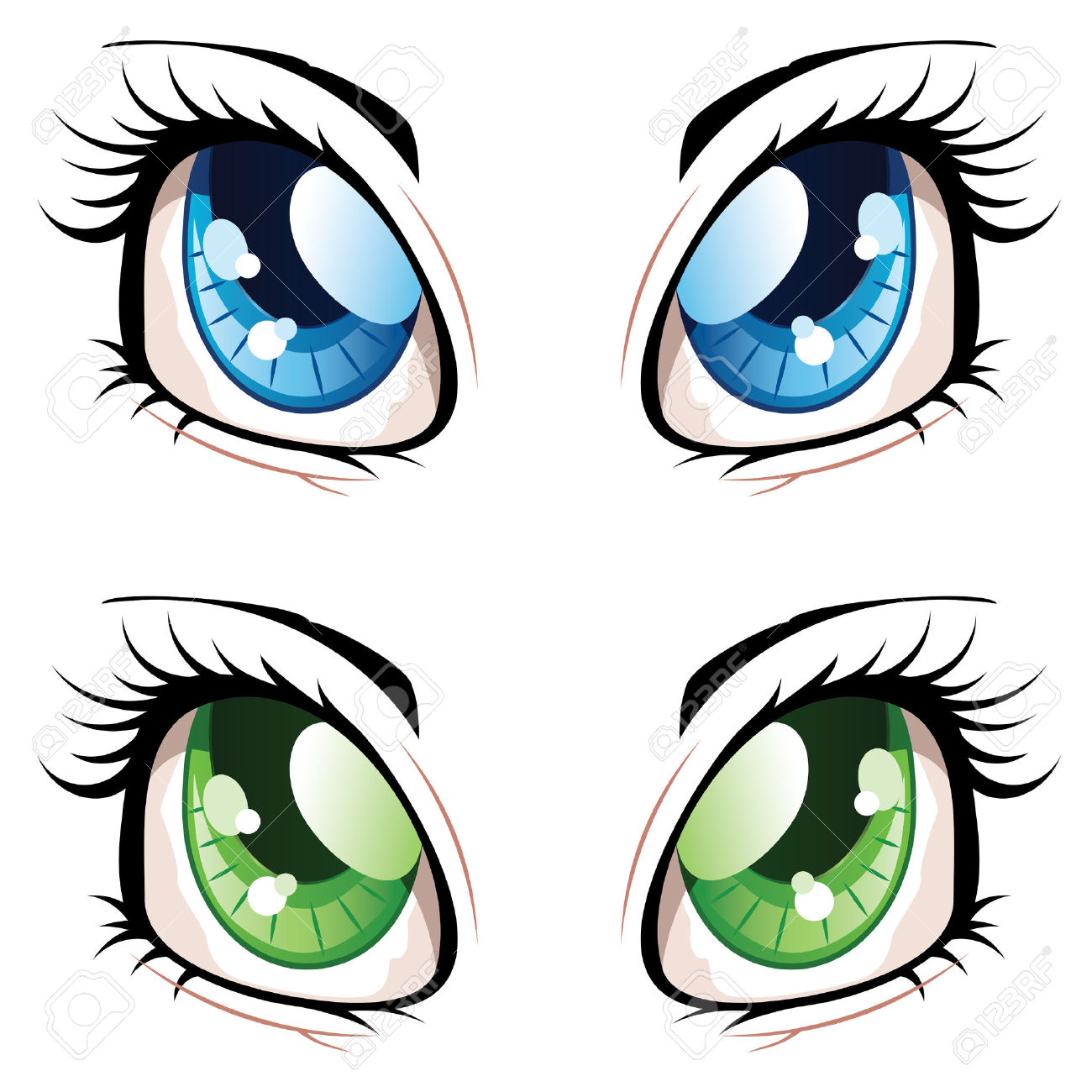 Set Of Manga, Anime Style Eyes Of Different Colors. Royalty Free.