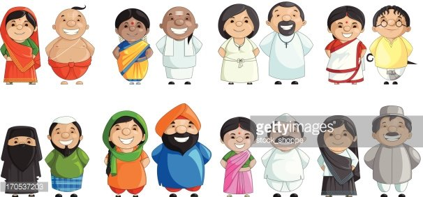 Indian Couple of different Culture Clipart Image.