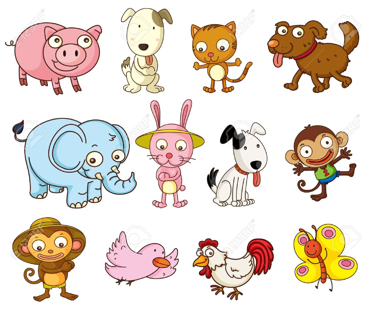 26354 Animals free clipart.