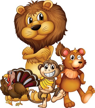 Different kind of wild animals Clipart Image.
