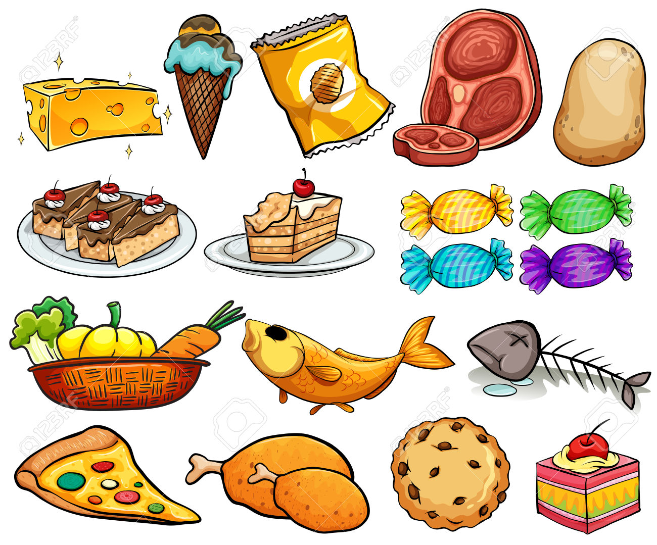 Different Kind Of Food And Dessert Royalty Free Cliparts, Vectors.