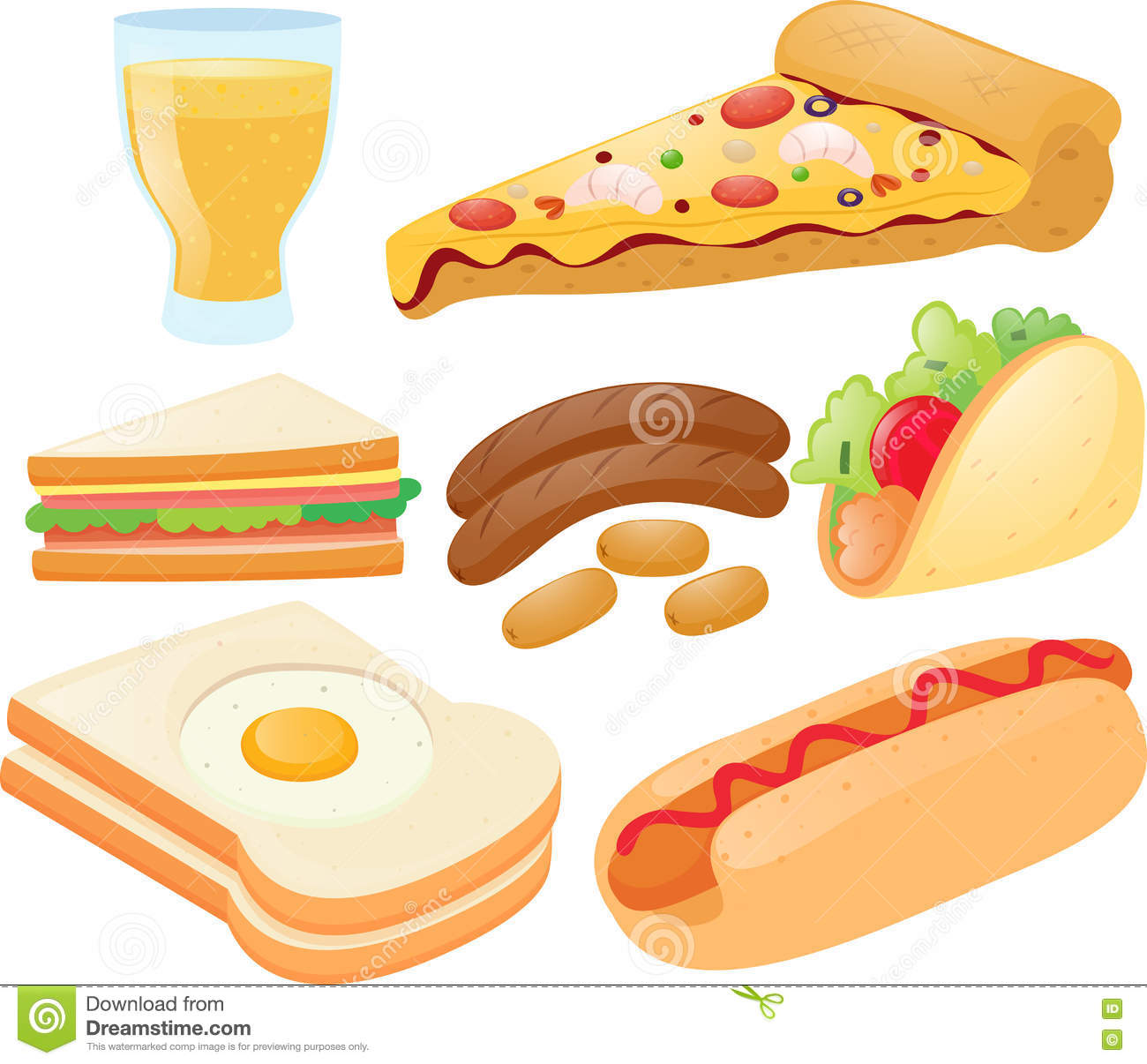 Different Kinds Of Food And Drink Stock Vector.