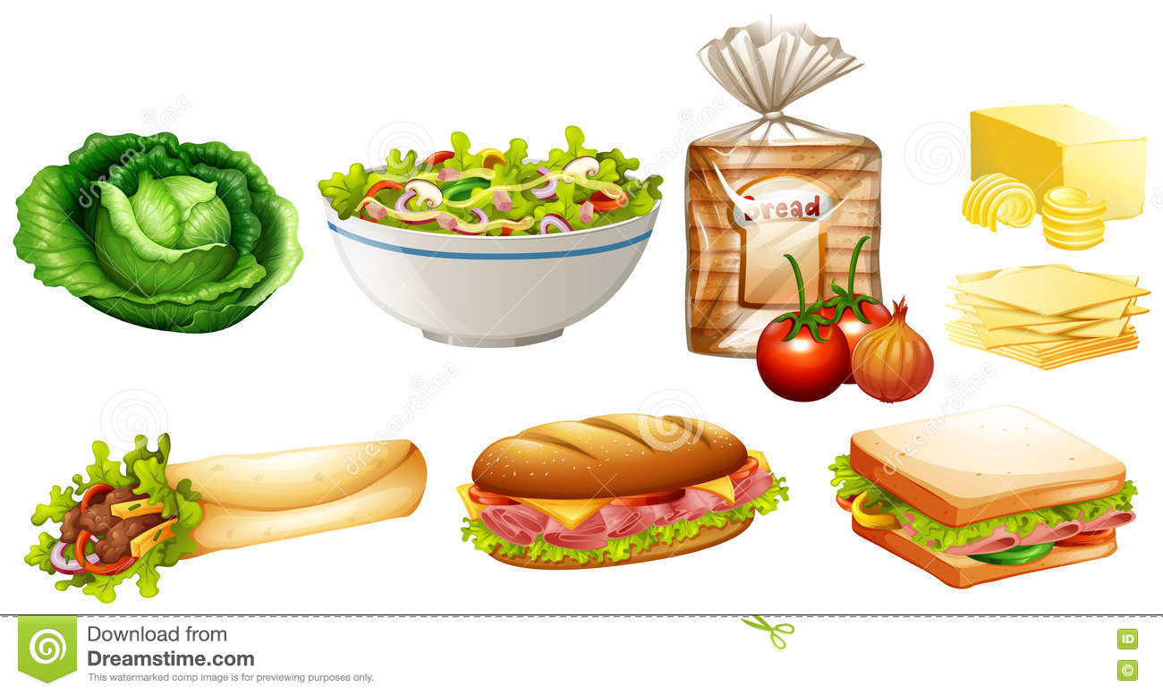Set Of Different Kinds Of Food Stock Vector.
