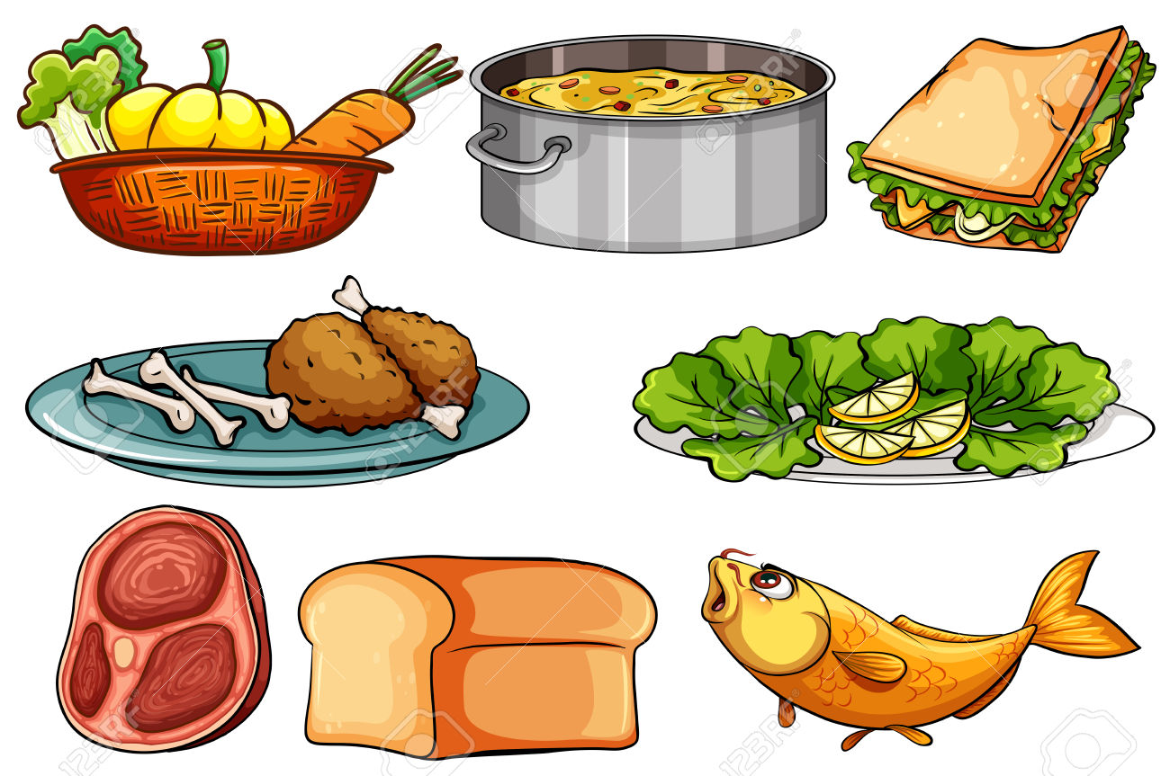 Different Kinds Of Food And Snack Illustration Royalty Free.