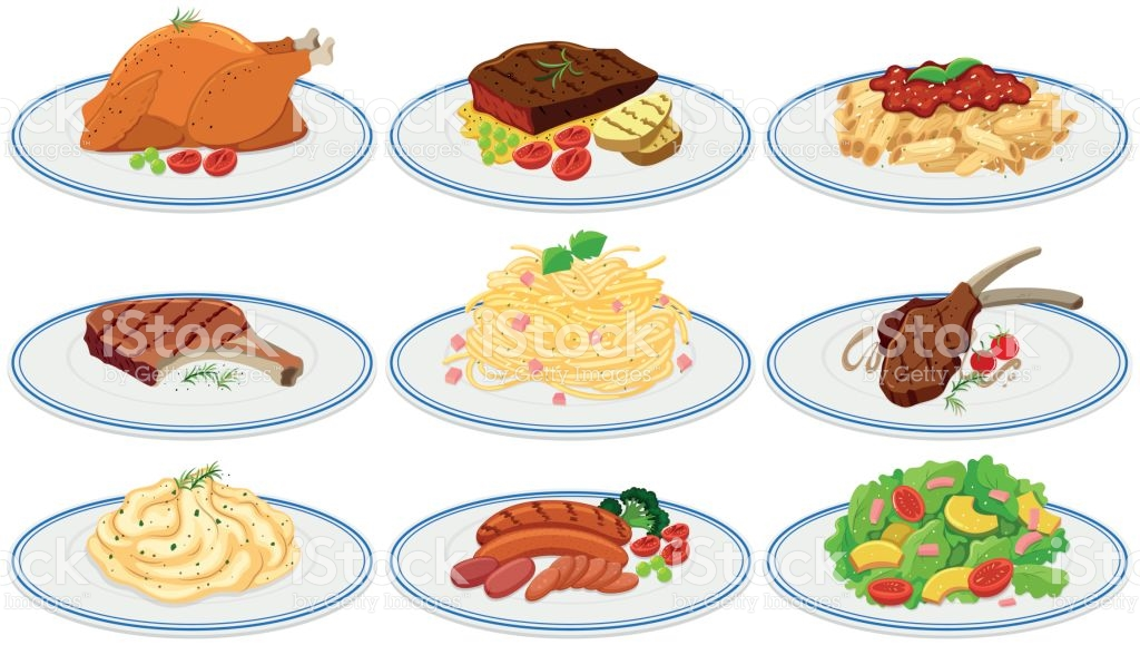 Different Types Of Food On The Plates stock vector art 658955424.