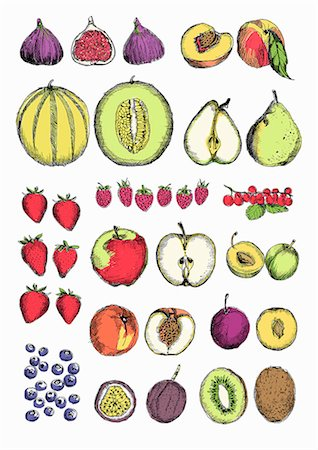 Different types of fruits Stock Photos.